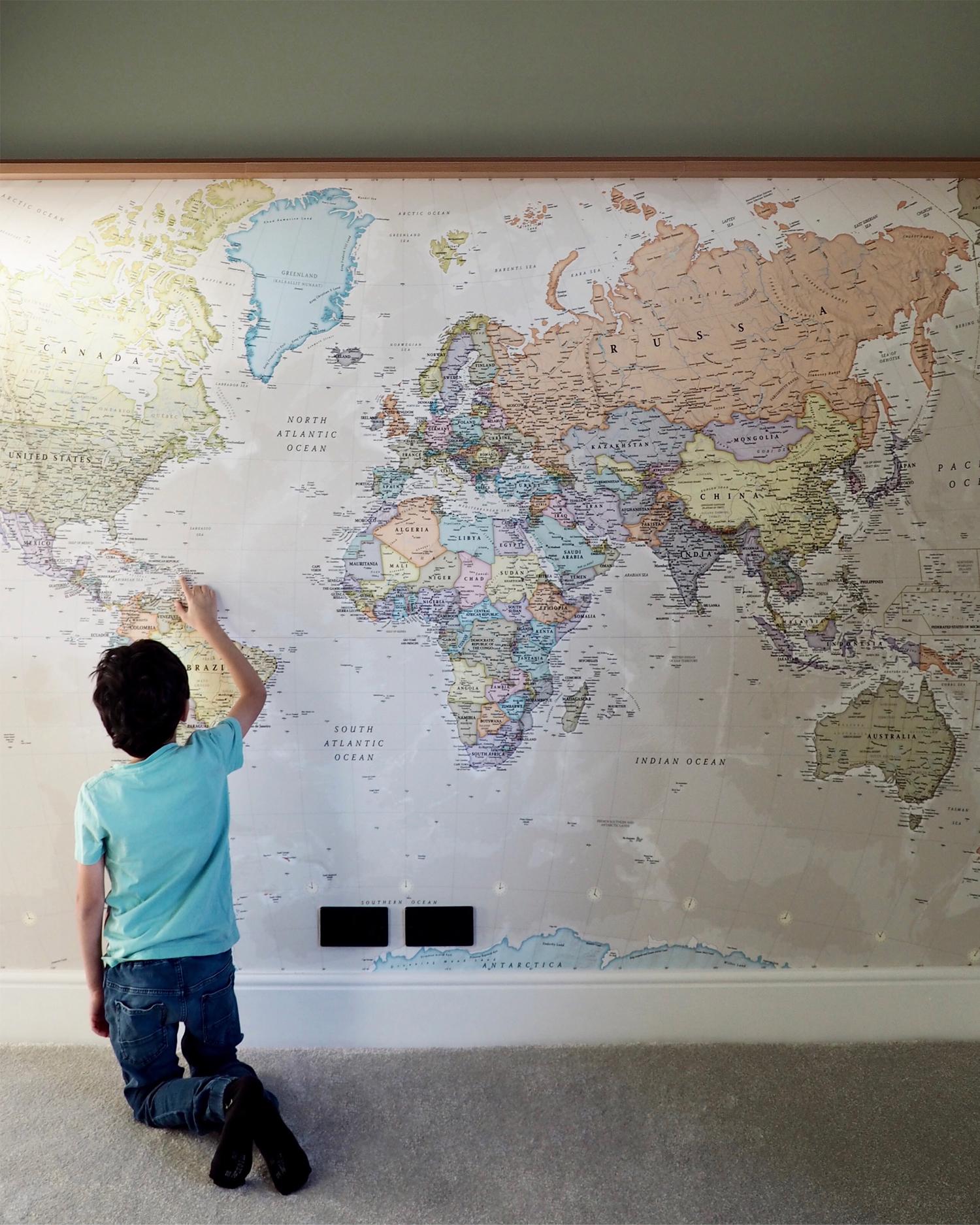 Classic World Map Wallpaper Mural from Wallsauce