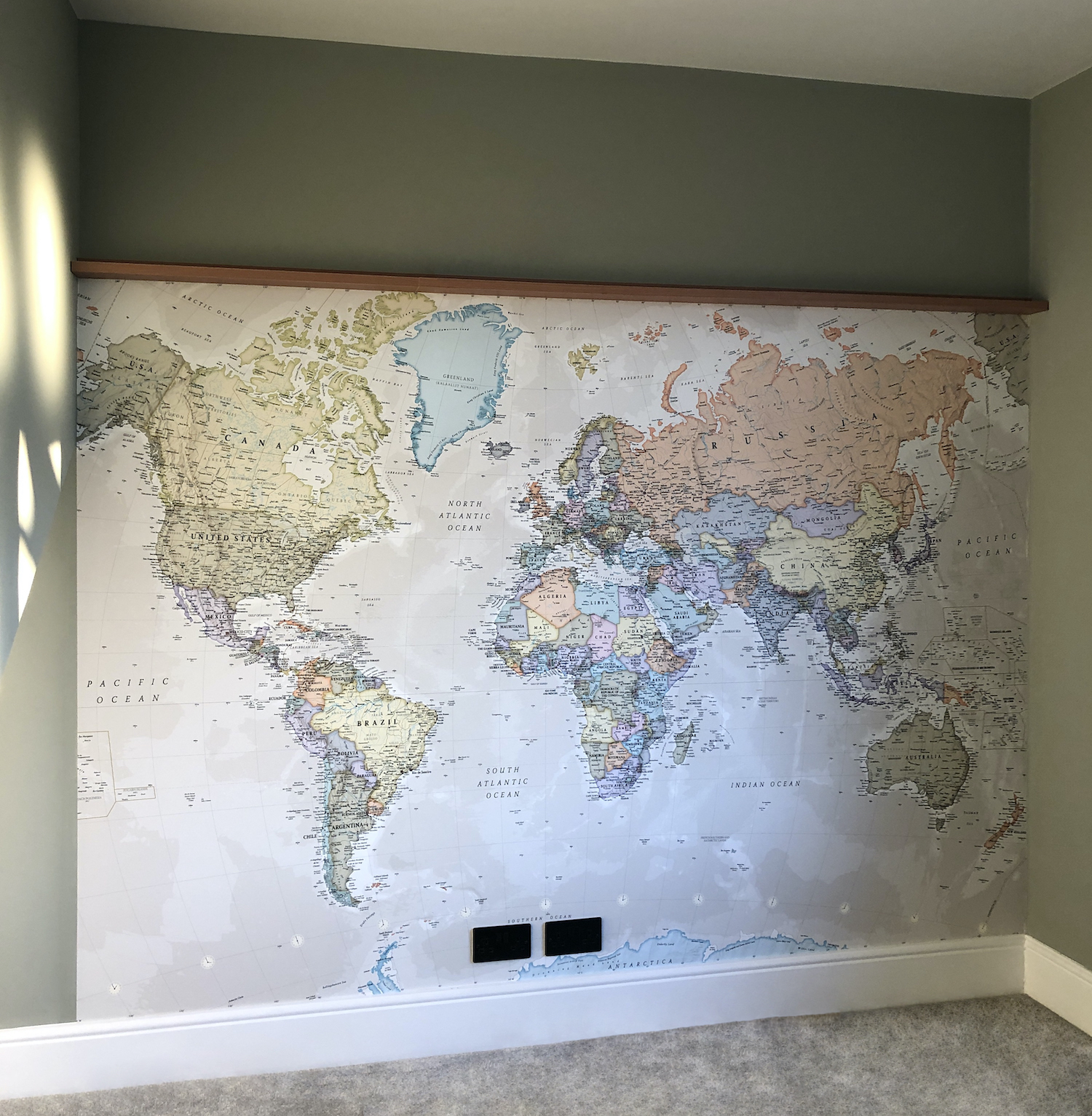 World Map Wallpaper Mural from Wallsauce