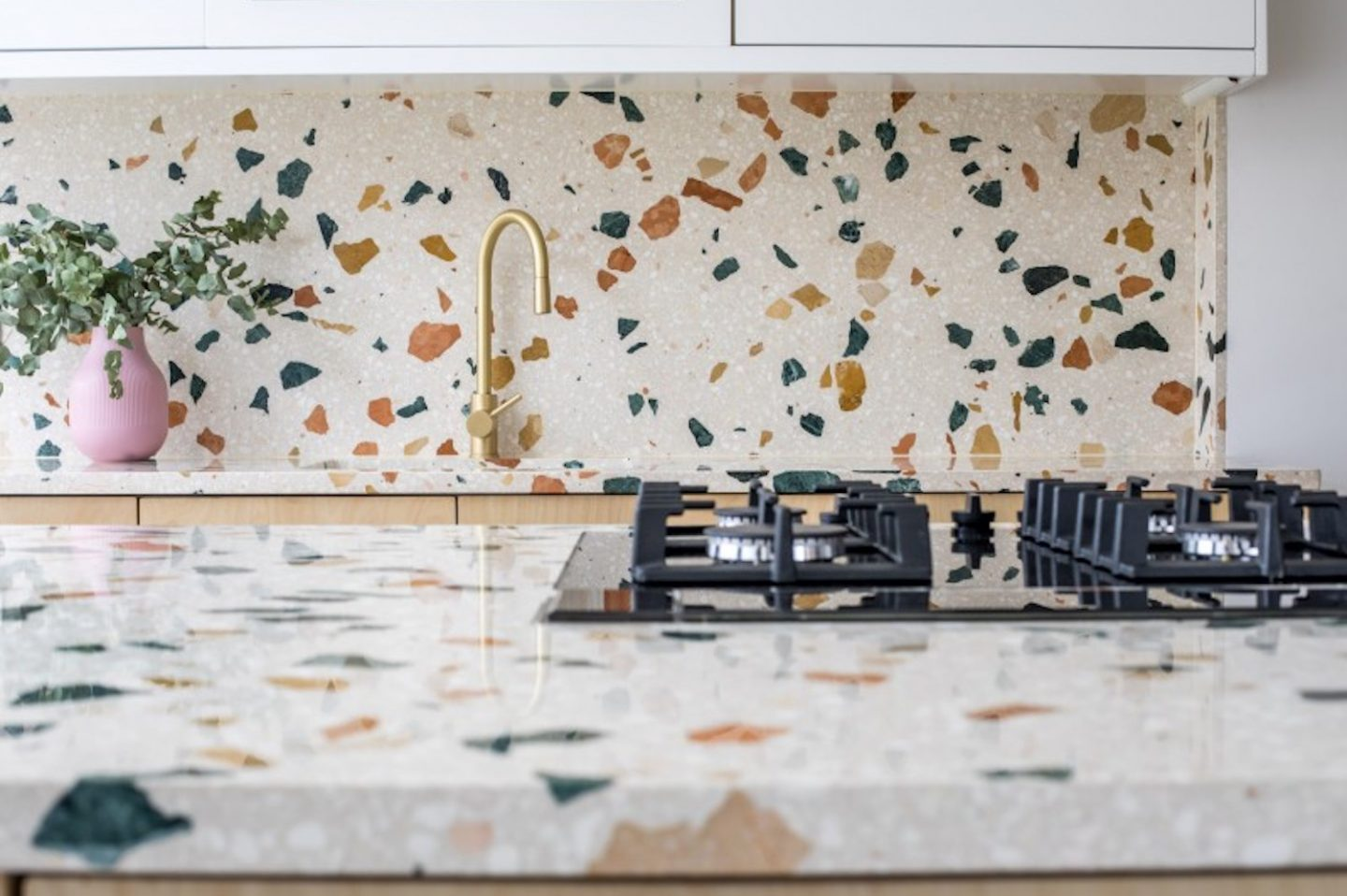 Terrazzo kitchen worktop and splashback